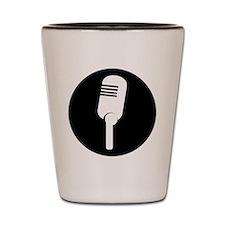 Black Microphone Icon Shot Glass