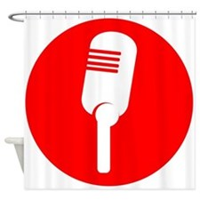 Red Microphone Icon Shower Curtain
