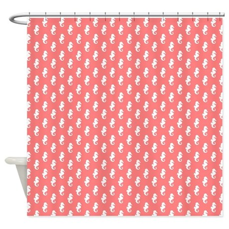 coral seahorse pattern shower curtain by mcornwallshop