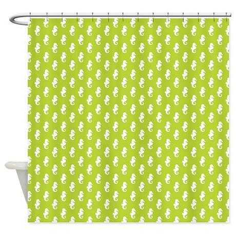 Lime Green Seahorse Pattern Shower Curtain By Mcornwallshop