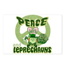 PEACE LOVE and LEPRECHAUNS Postcards (Package of 8