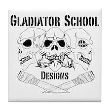 3 Skull Gladiator School Tile Coaster