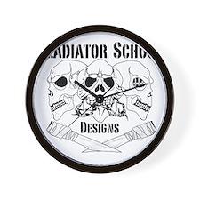 3 Skull Gladiator School Wall Clock