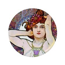 "Mucha 3.5"" Button"