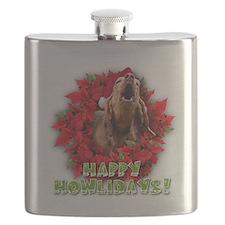 Redbone Coonhound baying Flask