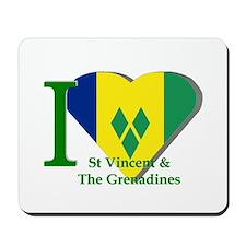 I love St Vincent flag Mousepad