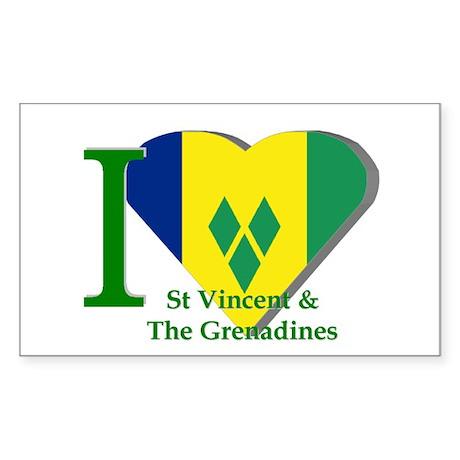 I love St Vincent flag Rectangle Sticker