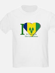 I love St Vincent flag Kids T-Shirt