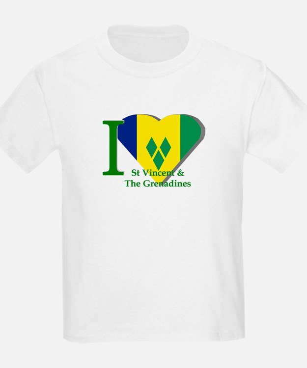 I love St Vincent flag Kids T-Shirt