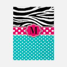 Pink Teal Zebra Monogram Twin Duvet