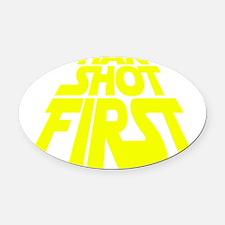 han yellow Oval Car Magnet