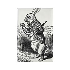 White Rabbit Rectangle Magnet