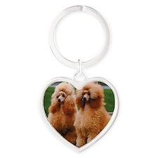 Cute Poodle Heart Keychain