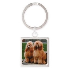Cute Poodle Square Keychain