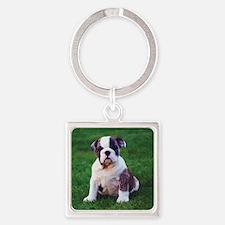 Bulldog Square Keychain
