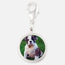 Bulldog Silver Round Charm