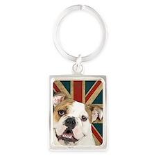 Bulldog Portrait Keychain
