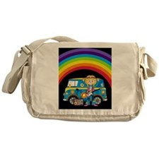 Hippie Girl and Camper Van Messenger Bag