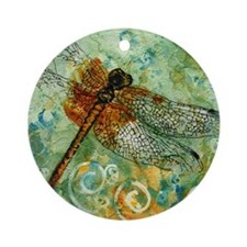 Dragonfly Away Round Ornament