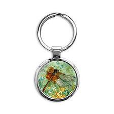 Dragonfly Away Round Keychain