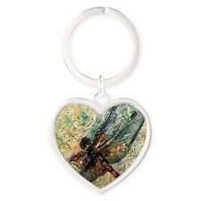 Dragonfly Dance Heart Keychain