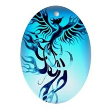 Blue Phoenix 2 Oval Ornament