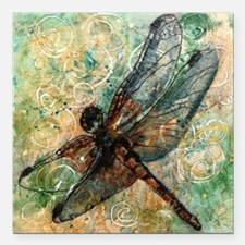 "Dragonfly Dance Square Car Magnet 3"" x 3"""
