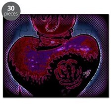 Rose Heart in blue and red Puzzle
