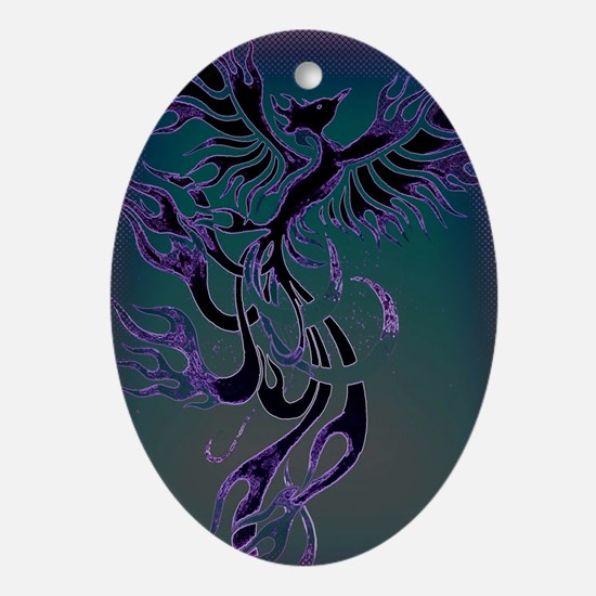 Blue Phoenix Oval Ornament