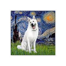 "Starry-White German Shepher Square Sticker 3"" x 3"""