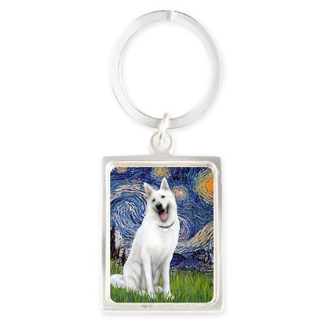 Starry-White German Shepherd Portrait Keychain