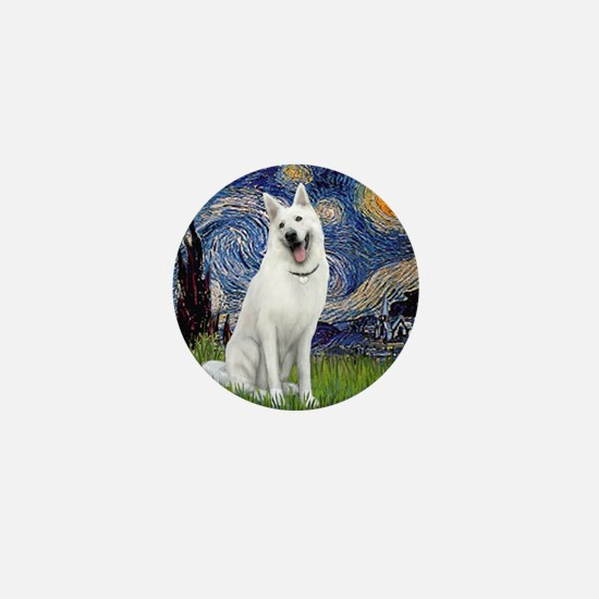 Starry-White German Shepherd Mini Button