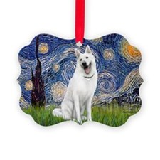 Starry-White German Shepherd Picture Ornament