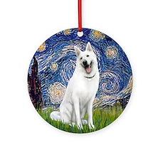Starry-White German Shepherd Round Ornament