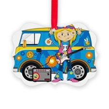 Hippie Girl and Camper Van Ornament