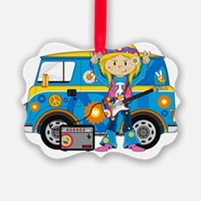 Hippie Girl and Camper Van Ornament