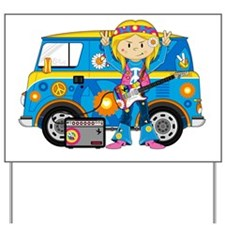 Hippie Girl and Camper Van Yard Sign