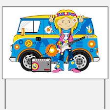 Hippie Girl and Camper Van Yard Sign