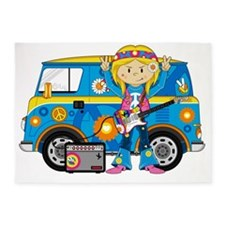 Hippie Girl and Camper Van 5'x7'Area Rug