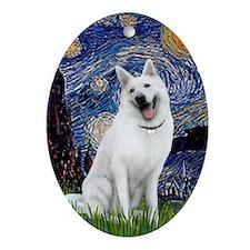 Starry--WhiteGermanShepherd Oval Ornament