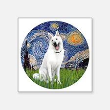 "white german shepherd Square Sticker 3"" x 3"""