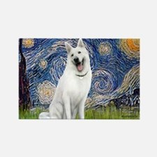 white german shepherd Rectangle Magnet