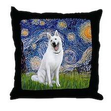 white german shepherd Throw Pillow