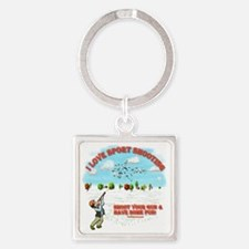 I Love Sport Shooting Square Keychain