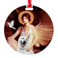 white german shepherd Round Ornament