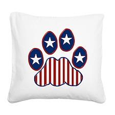 Patriotic Paw Print Square Canvas Pillow