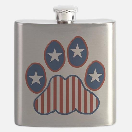 Patriotic Paw Print Flask