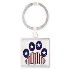 Patriotic Paw Print Square Keychain