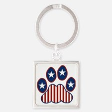 Patriotic Paw Print Square Keychain