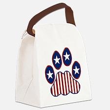 Patriotic Paw Print Canvas Lunch Bag